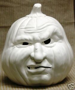 Ceramic Bisque Snarling Pumpkin Lighted Scioto Mold 1475 U-Paint Ready To Paint