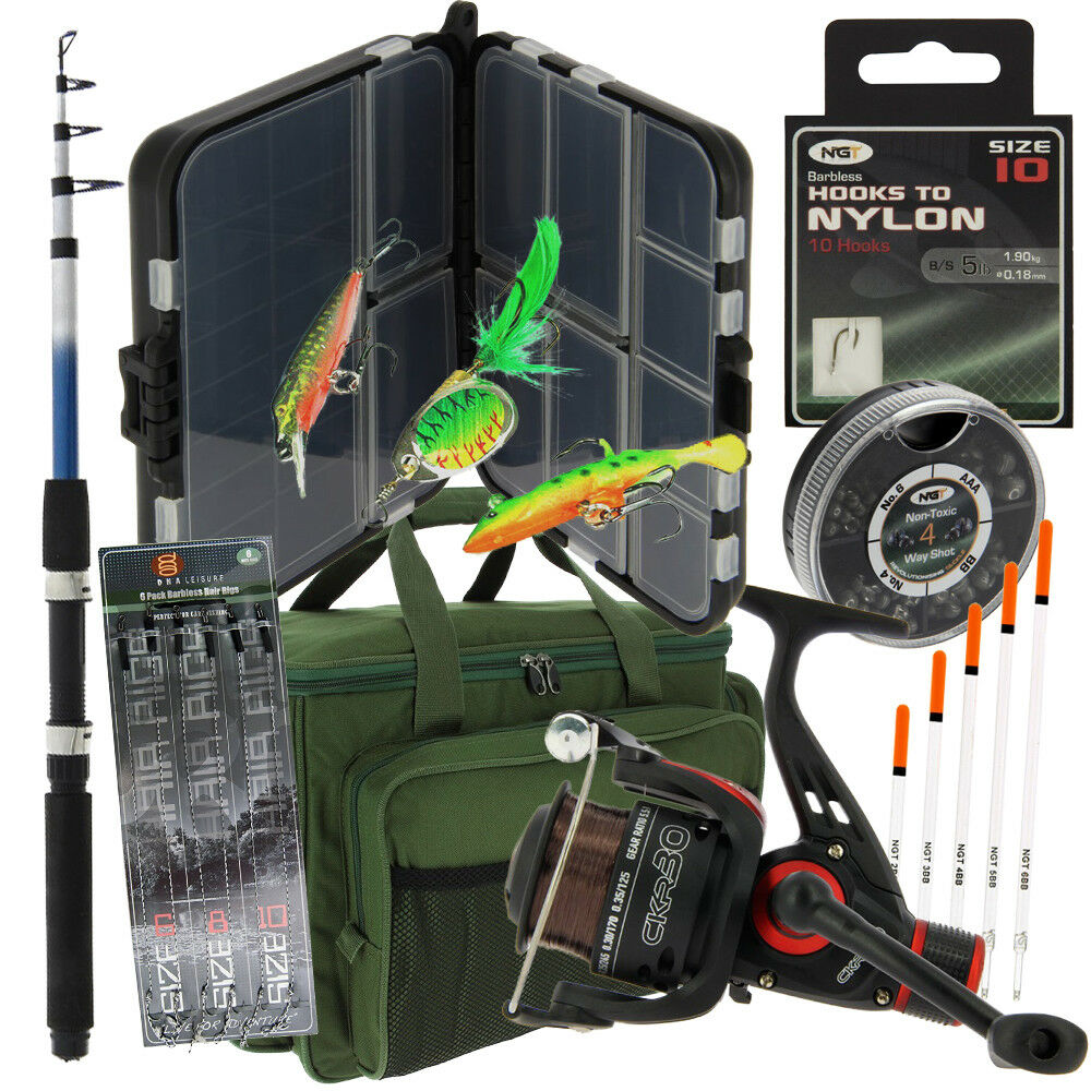 NGT da Viaggio Carpa Grossolani Set di Pesca 1,8 M Canna Carry All Esche Bit Box