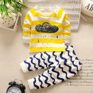 Baby-Boys-Girls-Kid-Toddler-Long-Sleeve-T-Shirt-Tops-Pants-Clothes-Outfit-Set-AB