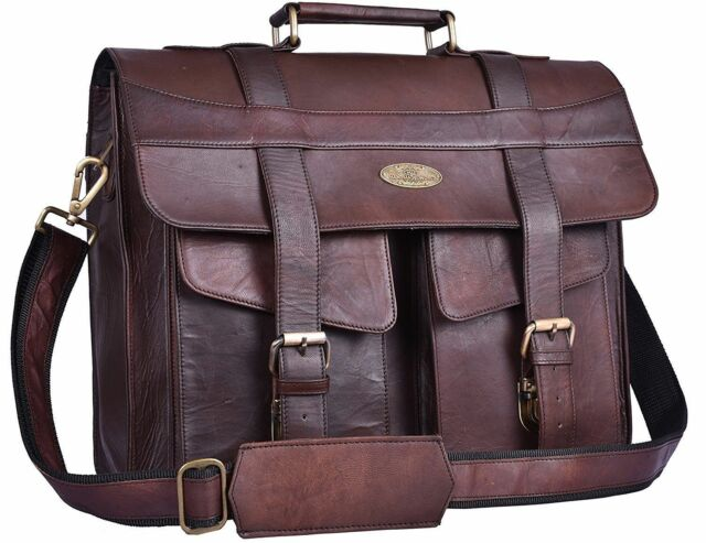 d4e656d5c2b1 Men's Genuine Leather Vintage Laptop Messenger Handmade Briefcase Bag  Satchel