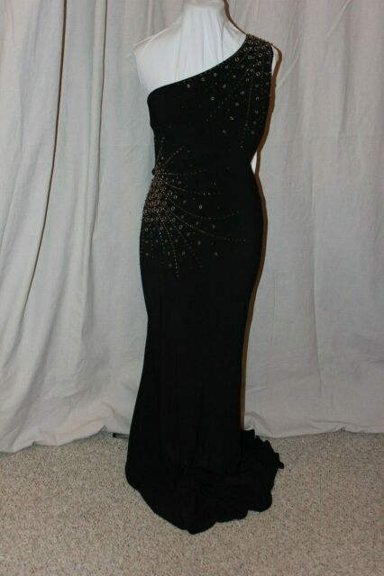 NWT Sherri Hill 51566 Black & Gold jersey size 14 long formal PROM gown