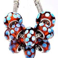 5pcs Brown Lampwork White Spot Murano Glass Bead European Fit Charm Bracelet
