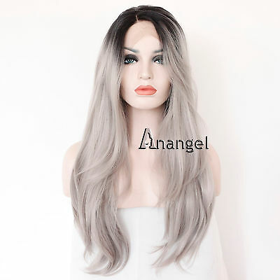 Synthetic Lace Front Wig Heat Resistant Long Wavy Ombre Grey Gray Full Hair Wigs