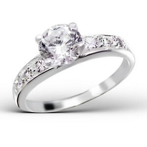 Women 925 Sterling Silver Classical 2 Carat Simulated Diamond Wedding Ring R121