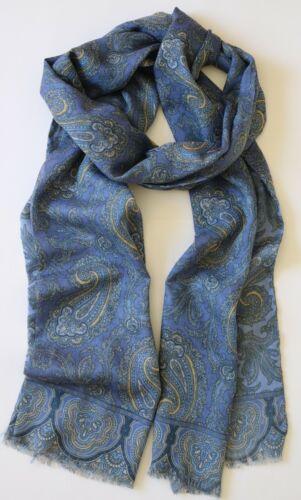 "Scarf Silk /& wool blend 80/"" X 13/"" Blue /& lemon Paisley ornate pattern Unisex"