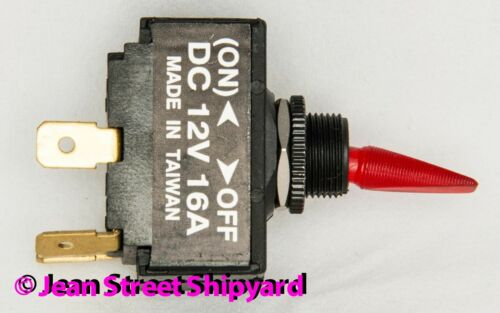 Marine Boat Lighted Red 2 Position Paddle SPST Toggle Switch Off Mom-On 12211