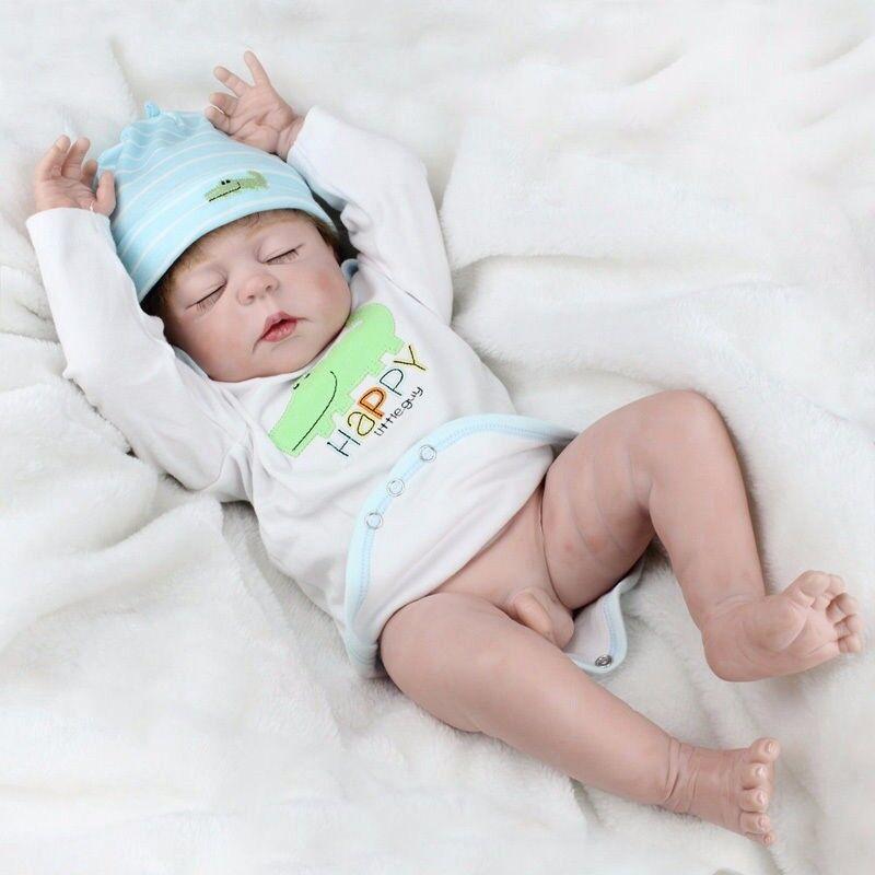 Bambola Boy 22  CORPO PIENO in silicone VINILE RINATO baby fatto a mano realistici nuovo giocattolo sia