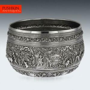 ANTIQUE-19thC-EXCEPTIONAL-BURMESE-SOLID-SILVER-HAND-CRAFTED-BOWL-c-1880