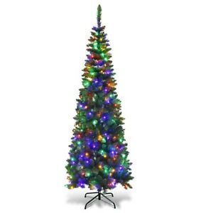 Slim-Christmas-Tree-Artificial-Pencil-Xmas-Tree-With-Stand-Pre-Lit-6-5-Ft-LED