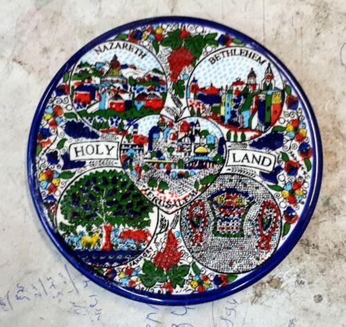 "5.11/"" Diameter Armenian Ceramic  Israel Holy Land plate for hanging"