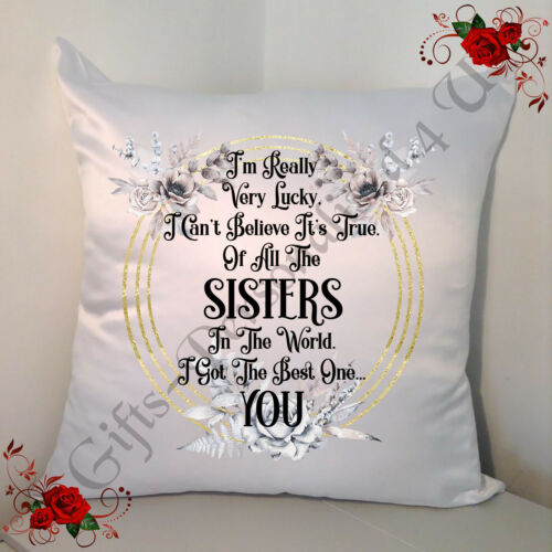 """Sister - Design 1 I/'m Really Very Lucky.. Personalised 18/"""" Cushion"""