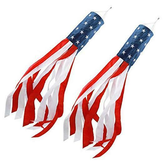 40 Inch American Flag Windsock outdoor Embroidered Stars Stripes USA flags