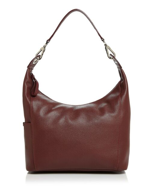 f1f2ce9ee1a NWT Longchamp Veau Le Foulonne Leather Hobo Red Lacquer WINE RED $550+  AUTHENTIC