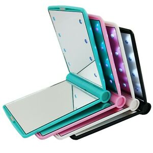New-8-LED-Light-Emitting-Handbag-Slim-Mirror-Makeup-Travel-Party-Handheld