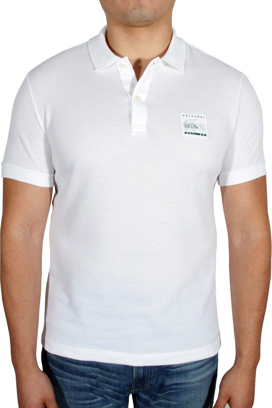 Nuevo Con  Etiquetas Para Hombre Lacoste Regular Fit Parche Algodón Petit Piqué Polo PH7161 blancoo  bienvenido a orden