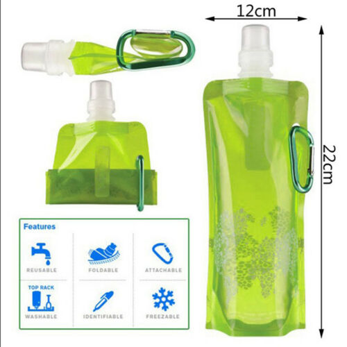 1Pc Cups Bag Folding Plastic Collapsible Outdoor Sport Portable Water Bottle Fp