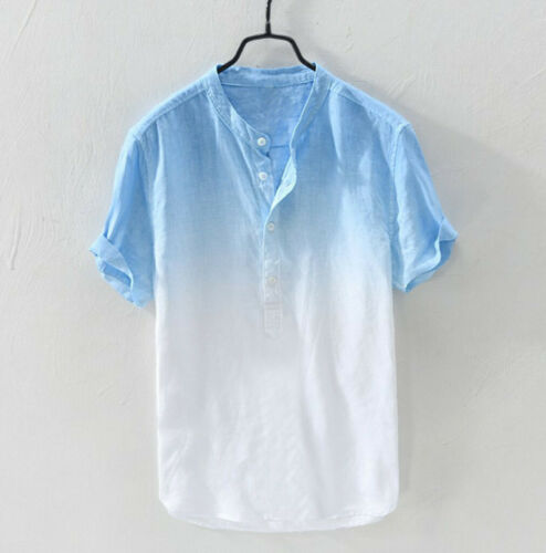 Summer Men/'s Cool And Thin Breathable Collar Hanging Dyed Gradient Shirt Top N