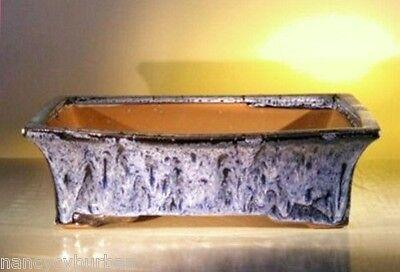 "Ceramic Bonsai Pot Rectangle Drip Style Marble Blue 12"" x 9.5"" x 3.4"" Tall"