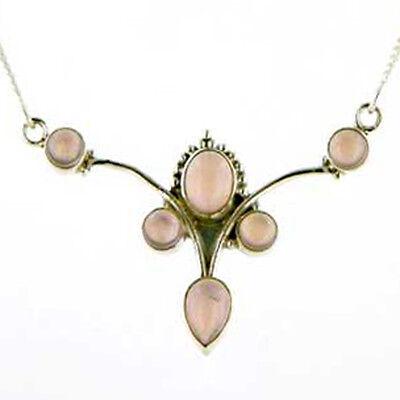 Pink Minimalist Sundance Style Rose Quartz Silver Framed Pendant Necklace Sterling Silver Wrapped Gemstone Pendant Modern Contemporary