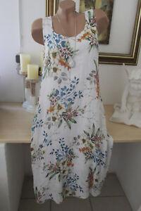Italy Blumen Kleid geblümt Oversize Midi Floral Sommer Rosen Weiß 42 44 46