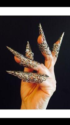 10 pcs Arrow claw rings,golden claw rings,gold nail guards metal nails sharp nail rings,nail tips,finger tips,gold color adjustable.