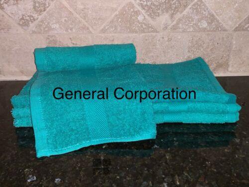 48 NEW GREEN SALON SPA GYM TOWELS DOBBY BORDER RINGSPUN 16X27 3LBS PREMIUM
