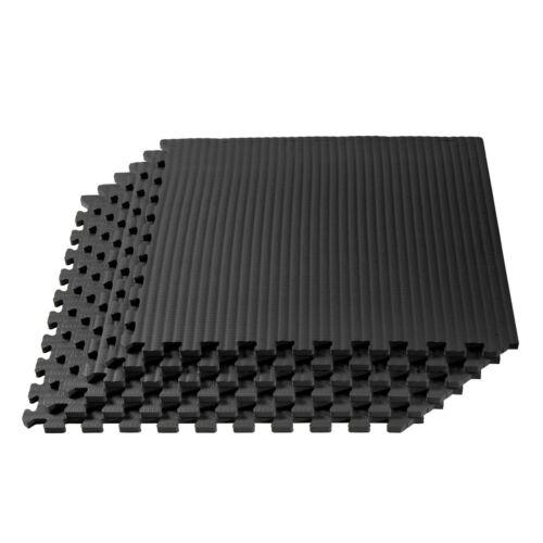 "Martial Arts mats interlocking gym tiles 1//2/"" thick Black 24 square feet"