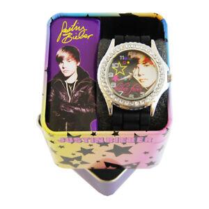 Justin-Bieber-Black-Band-Rubber-Strap-Round-Face-Watch