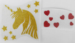 Details about bm859 IRON ON TRANSFER glitter foil gold UNICORN HEAD stars  hearts 3 9 inches