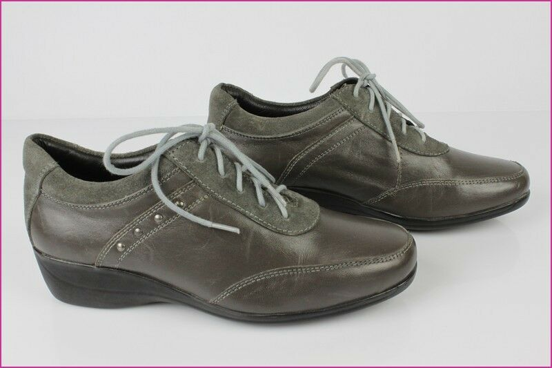 Derby shoes PEDICONFORT Leather Grey Taupe T 38 TOP CONDITION