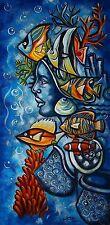 Original Art Painting Cuban Arte YEMAYA Pintura Cuba  ABEL SOMOZA MARTINEZ 22
