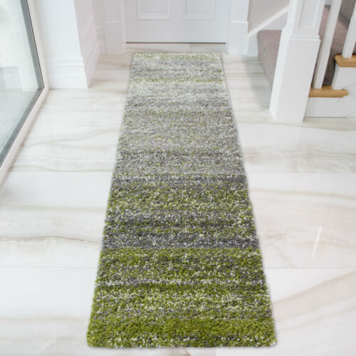 Vert foncé à rayures Hall Runner Tapis ombre Flecked Shaggy Rugs Confortable Chambre Tapis