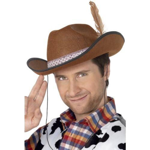 Men/'s Marrone Dallas Cowboy Hat /& Piuma Costume Texas magnate petrolifero Stag Fun