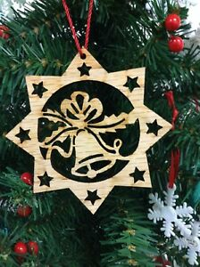 Details About Christmas Natural Wood Christmas Tree Ornaments Star Bell