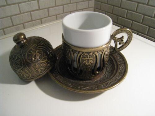 Lot de 4 Turc Traditionnel Fait Main Café Expresso Tasse /& Soucoupe /& Cover /& porcelaine