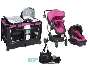 Pink Combo Set Stroller With Car Seat Diaper Bag Playard Baby Girl