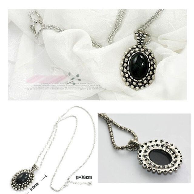 Crystal Vintage Black Jewel Resin Bead Necklace Dangle Charm Pendant Long Chain