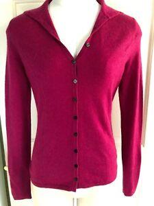 Adrienne Vittadini S Pink Fuchsia Cashmere Sweater Cardigan V-Neck ...