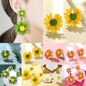 Charm-Flower-Long-Daisy-Stud-Earrings-Drop-Dangle-Women-Jewelry-Gifts-Fashion
