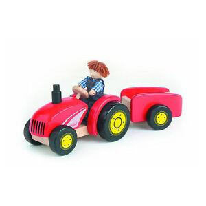 Pintoy-11561-Tractor-COLGANTE-Agricultor-sonido-rojo-MADERA-NUEVA