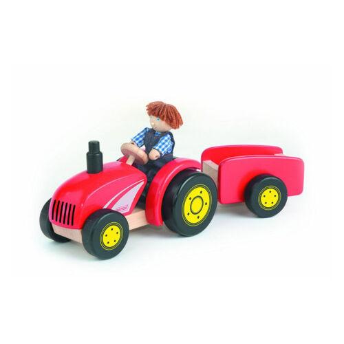 Pintoy 11561 Traktor + Anhänger + Bauer Sound rot Holz NEU!     #