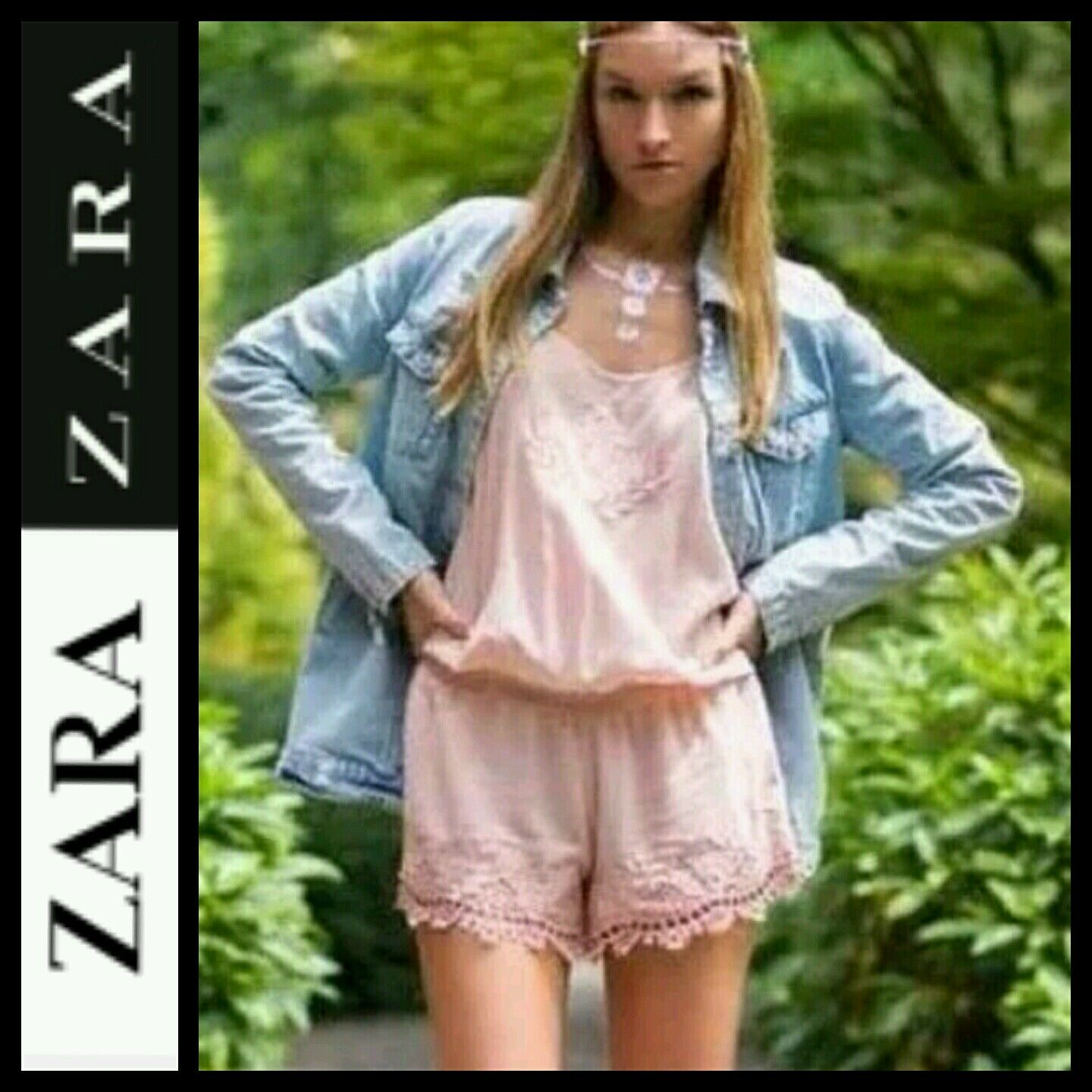 Zara Pink Nude bluesh Embroidered Play suit CELEBRITY BLOGGERS Romper  M M3020