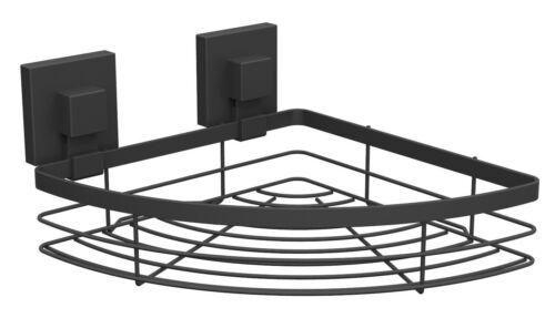 Fusion-Loc SUCTION BATHROOM CORNER SHELF 230x115x230mm Holds 26kg MATTE BLACK