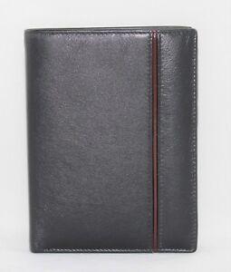 Und-Fuehren-Ausweis-Dokumente-Weben-Geldbeutel-Echtes-Leder-Weich-Schwarz