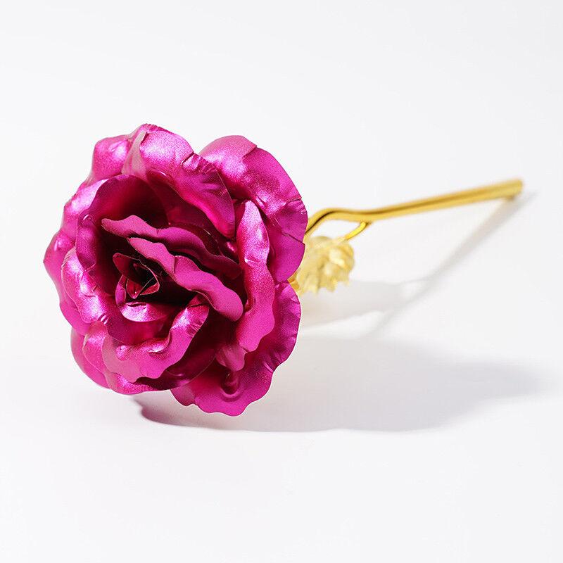 2PS Goldfolie Goldene Rose 24K Blume vergoldet Valentinstag Geburtstag Geschenk 11