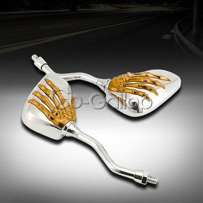 Gold Chrome Skull Rearview Mirrors Fit Honda VTX 1300 C R S RETRO VT750 VT1100