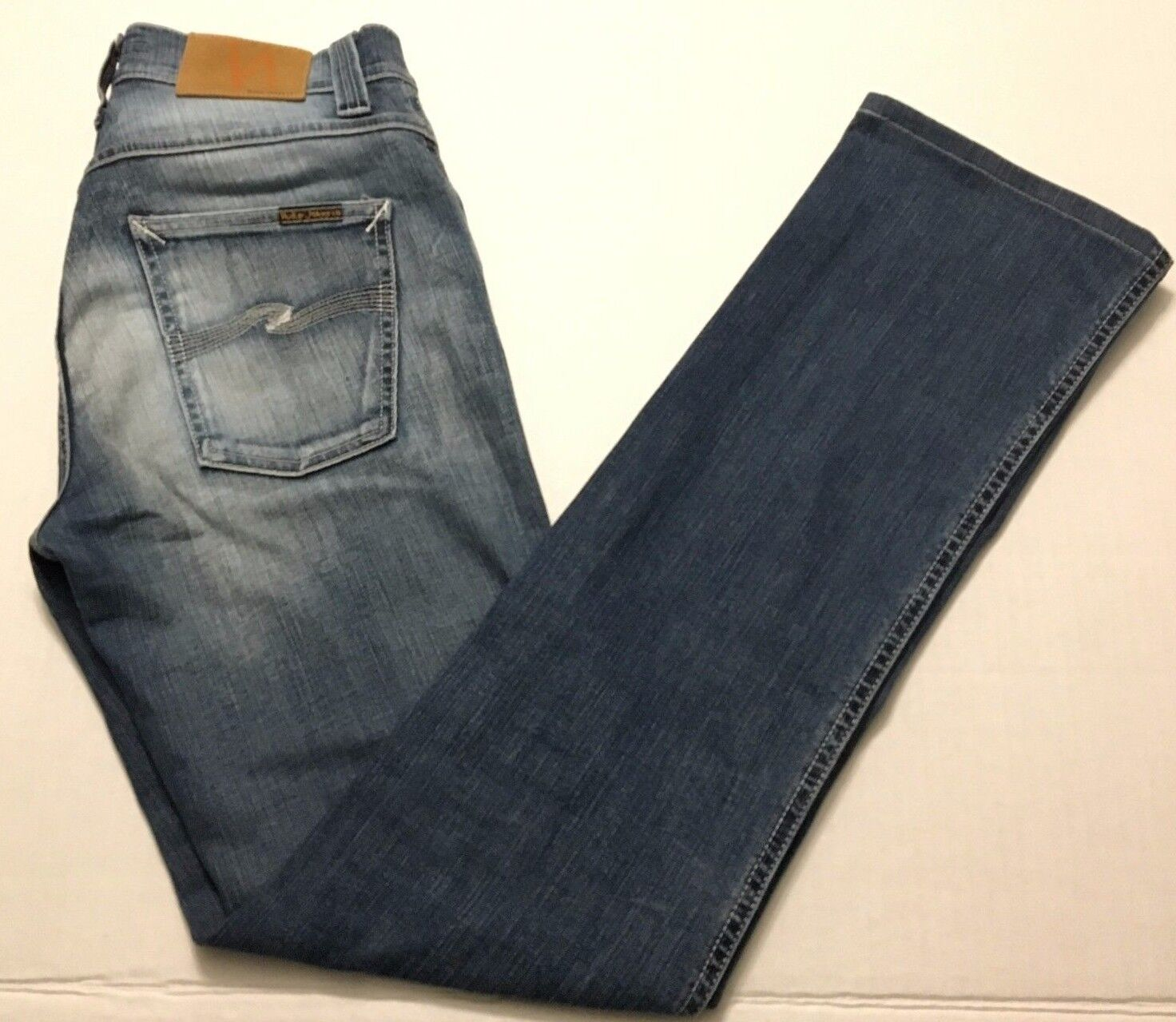 Nudie Jeans Co Mens 30W x 31L Slim Jim bluee Stone Organic Denim Straight NJ2647