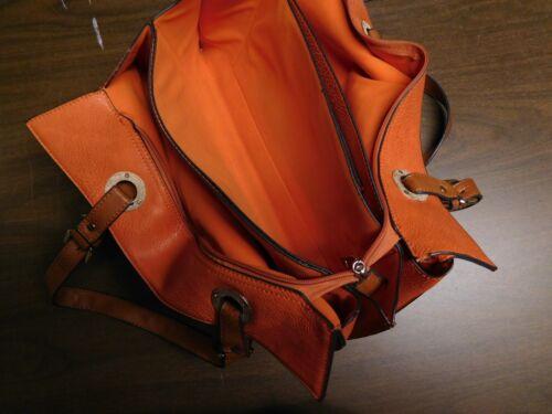 de 5 cierre dentro y suavemente usó del cremallera mujer dos El secciones para manijas naranja bolso la qwzyOP6