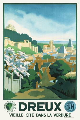 Vintage Art Deco French Travel Poster Dreux Loire Valley 1930s Print Retro Paris