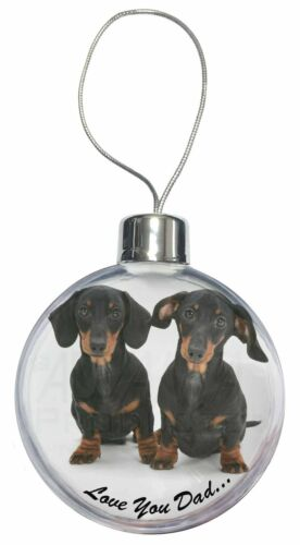 Dachshund Dogs /'Love You Dad/' Christmas Tree Bauble Decoration Gift DAD-24CB
